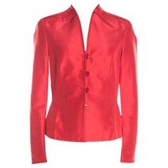 Escada Orange Silk Pleat Detail Tailored Button Front Blazer M