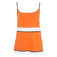 Escada Orange Striped Rib Knit Sleeveless Top XL