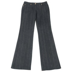 Escada Pant Jean Dark Wash Metallic Thread Pinstripe 38 / 8