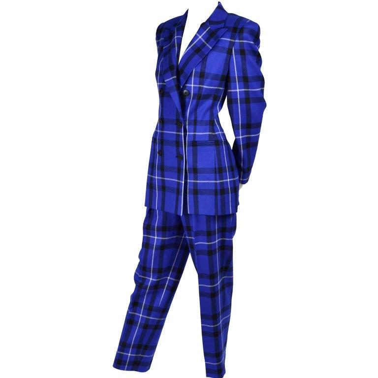 Escada Pantsuit in Blue Plaid Wool w/ Trousers & Blazer Jacket by Margaretha Ley