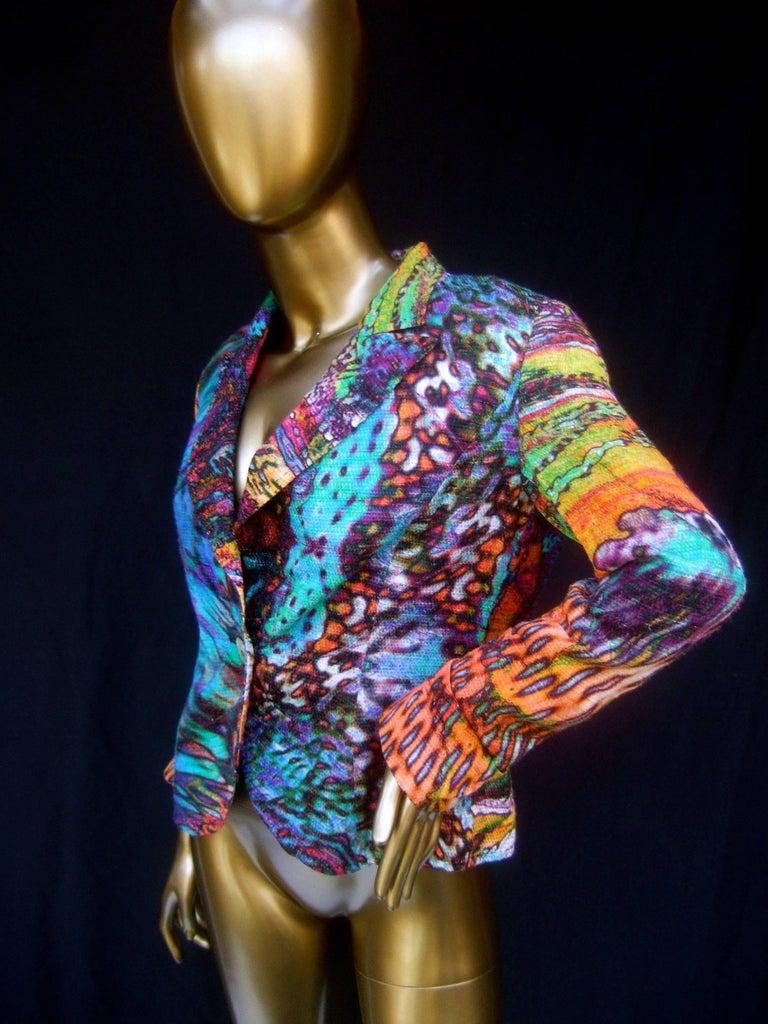 Gray Escada Pastel Psychedelic Graphic Print Jacket  For Sale