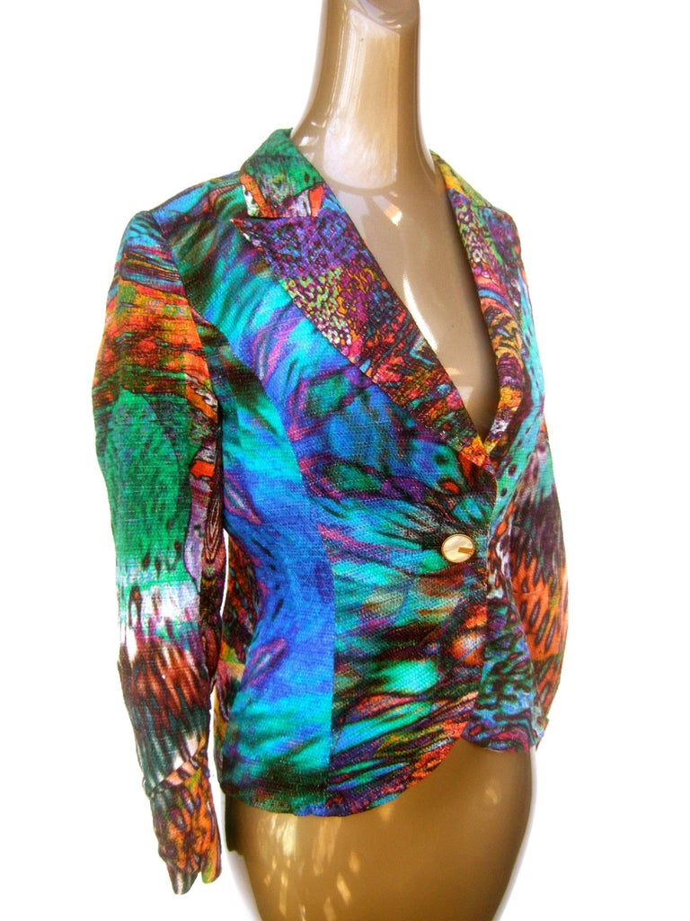 Escada Pastel Psychedelic Graphic Print Jacket  In Good Condition For Sale In Santa Barbara, CA