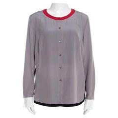 Escada Pewter Grey Silk Contrast Trim Long Sleeve Nendi Blouse M