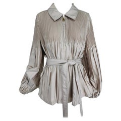 Escada Pinch Pleated Zip Front Belted Full Jacket