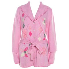 Escada Pink Cashmere Argyle Embroidered Detail Belted Cardigan L