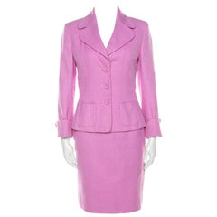 Escada Pink Cotton Basketweave Tailored Skirt Suit Set M