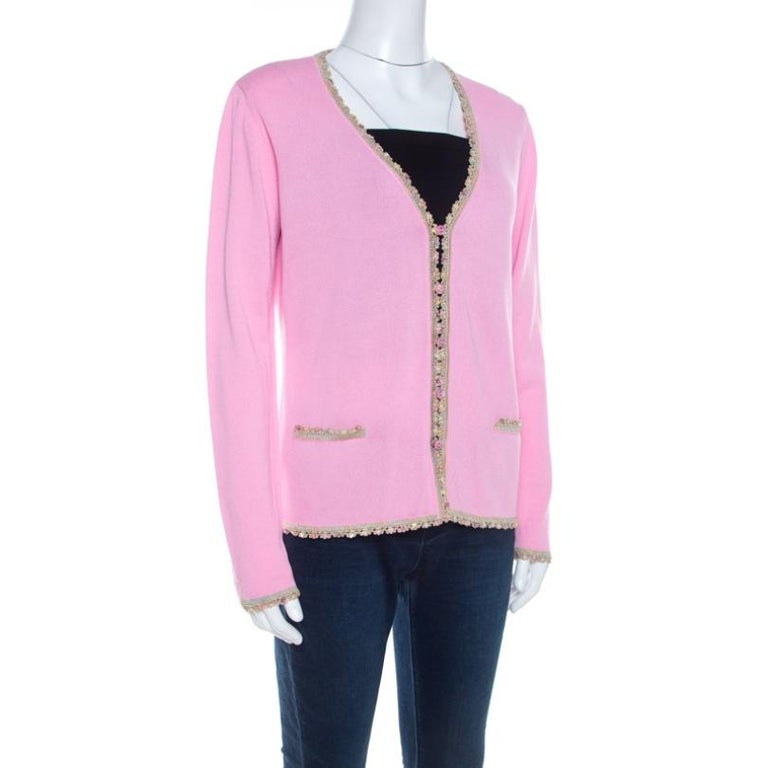Escada Pink Knit Sequined Lace Trim Button Front Cardigan M In Good Condition For Sale In Dubai, Al Qouz 2