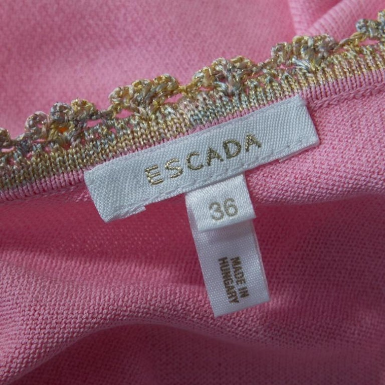 Escada Pink Knit Sequined Lace Trim Button Front Cardigan M For Sale 2