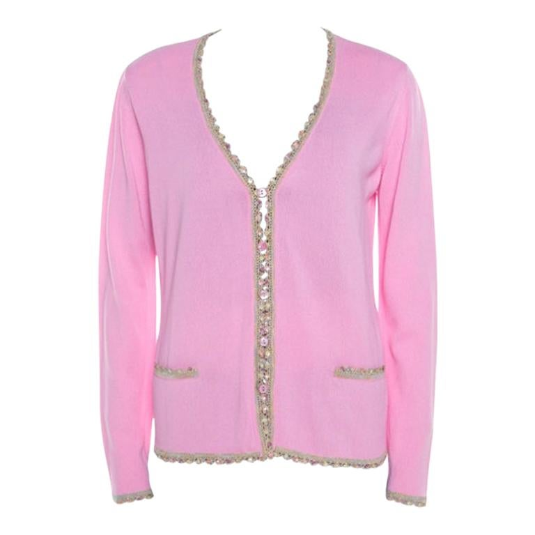 Escada Pink Knit Sequined Lace Trim Button Front Cardigan M For Sale