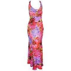 Escada Pink Multi Color Beaded Floral Halter Long Evening Dress