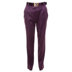 Escada Purple Stretch Satin Logo Belt Detail High Waist Tapered Trousers M