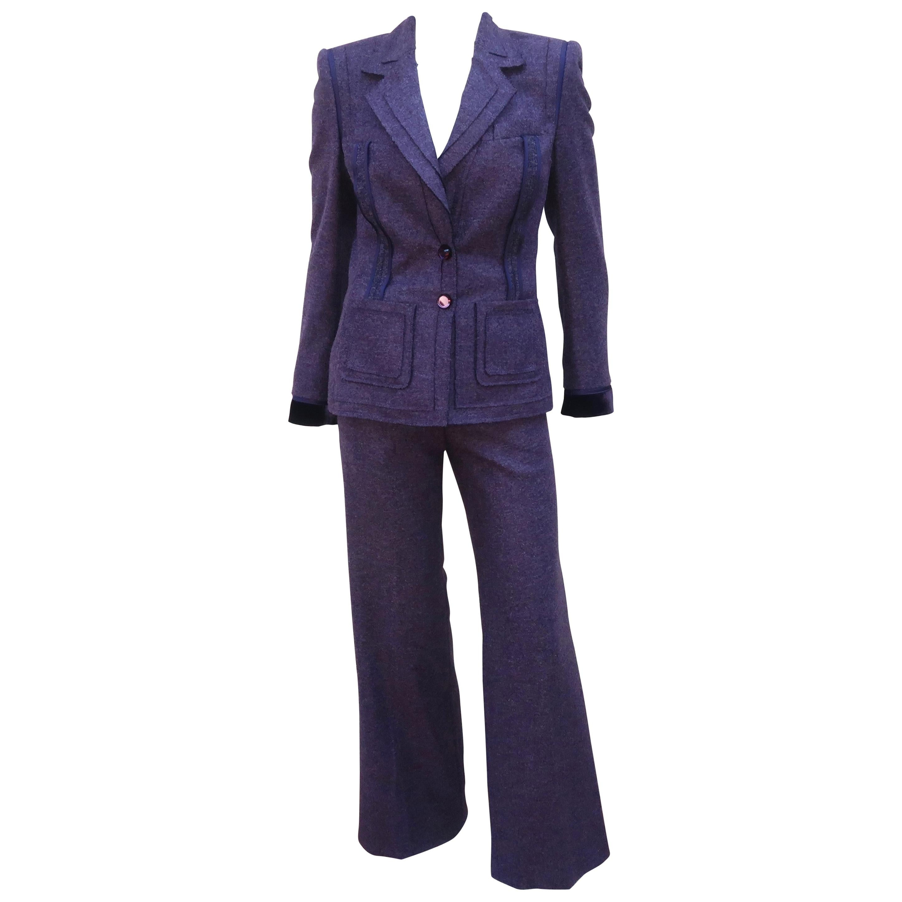 Escada Purple Wool Pant Suit With Glass Buttons