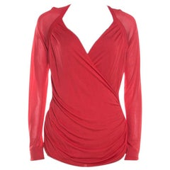 Escada Red Knit Ruched Crossover Front Long Sleeve Top L