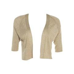 Escada Sandgold Lurex Knit Cropped Samanat Cardigan S