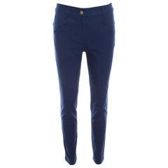 Escada Saphire Blue Stretch Denim Teresa Straight Leg Jeans S