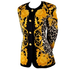 Escada Silk Blazer in Black & Gold Baroque Lion Animal Print by Margaretha Ley