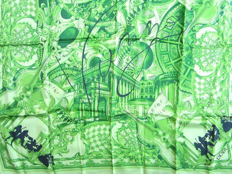 This is from a Vast Collection of Scarves that have never been worn. Featuring a Music notes in a vibrant Green with black accents. Made in Italy. Hand Rolled Silk. 34in. x 34in. This is out of a massive collection of Contemporary designer clothing