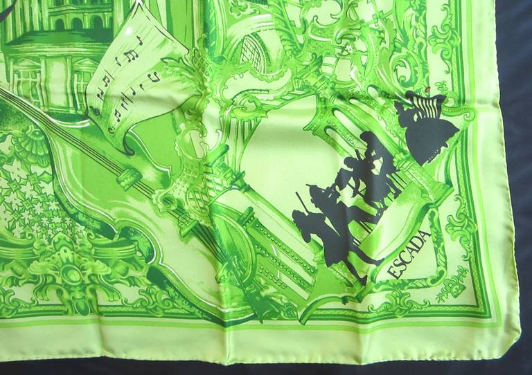 Escada Silk Scarf Green & Black Musical Made in Italy, Never Worn 1990s In New Condition For Sale In Wallkill, NY