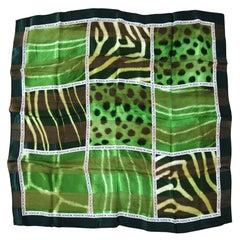 Escada Silk Scarf Green Leopard / Zebra - Made in Italy New, Never Worn w/ Tag