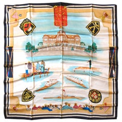Escada Silk Scarf Harvard Rowing team Made in Italy, Never Worn - 1990s