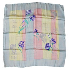 Escada Silk Scarf Pastel Music Notes Made in Italy New, Never Worn