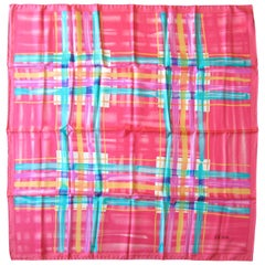 Escada Silk Scarf Pink Teal Yellow Purple Made in Italy 1990s New, Never Worn