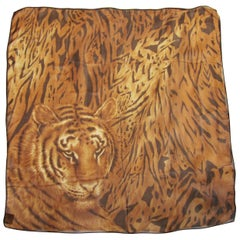 Escada Silk Scarf Tiger Face Made in Italy  New, Never Worn with Tag