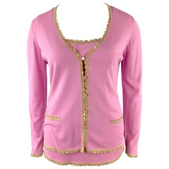 ESCADA Size 10 Pink Rayon Blend Embellished Trim Cardigan Camisole Set