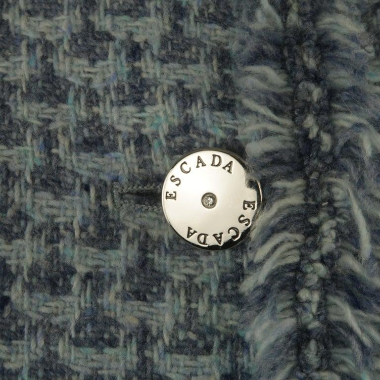 Gray ESCADA Size 12 Light Blue Cashmere Tweed Fringe Trim Skirt Suit For Sale