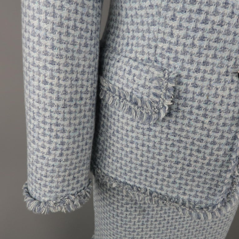 ESCADA Size 12 Light Blue Cashmere Tweed Fringe Trim Skirt Suit In Excellent Condition For Sale In San Francisco, CA