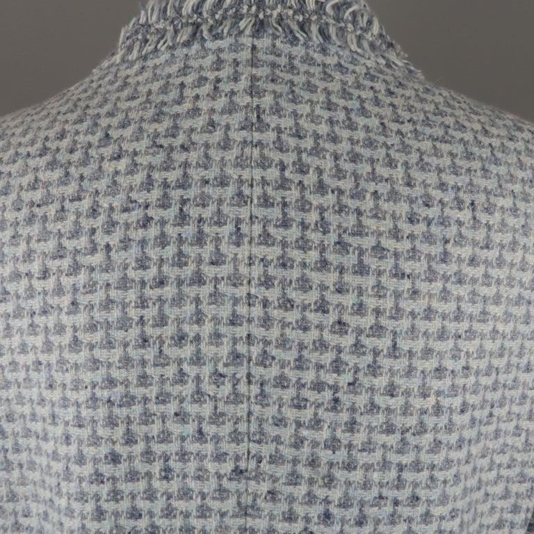 Women's ESCADA Size 12 Light Blue Cashmere Tweed Fringe Trim Skirt Suit For Sale
