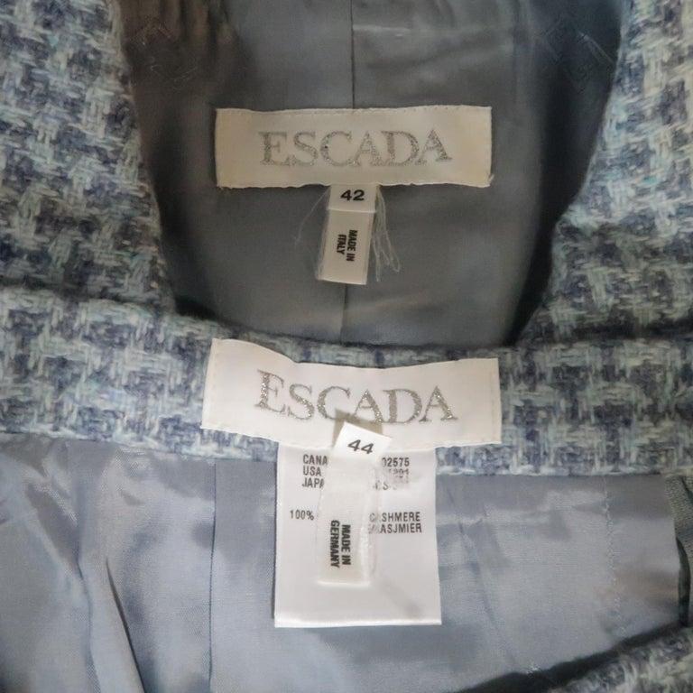 ESCADA Size 12 Light Blue Cashmere Tweed Fringe Trim Skirt Suit For Sale 2