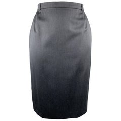 ESCADA Size 14 Charcoal Wool Blend Pencil Skirt