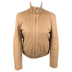 ESCADA Size 4 Beige Perforated Leather Bomber Jacket