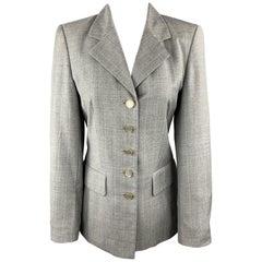 ESCADA Size 4 Grey Plaid Virgin Wool Gold Enamel Button Blazer