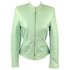 ESCADA Size 4 Mint Leather Zip Up Motorcycle Jacket
