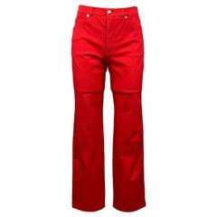 ESCADA Size 4 Red Stretch Cotton Dress Pants