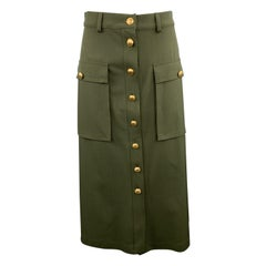 ESCADA Size 6 Olive Khaki Militay Flap Pocket Gold Button A Line Skirt
