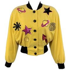 ESCADA Size 6 Yellow Velvet Sequin Patch TRAIL BLAZERS Bomber Jacket