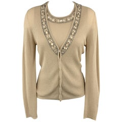 ESCADA Size 8 Beige Beaded Sparkle Knit Cardigan Sweater Vest Set