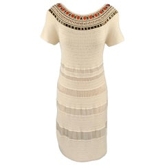 ESCADA Size 8 Beige Silk Knit Beaded Neckline Boat Neck Dress