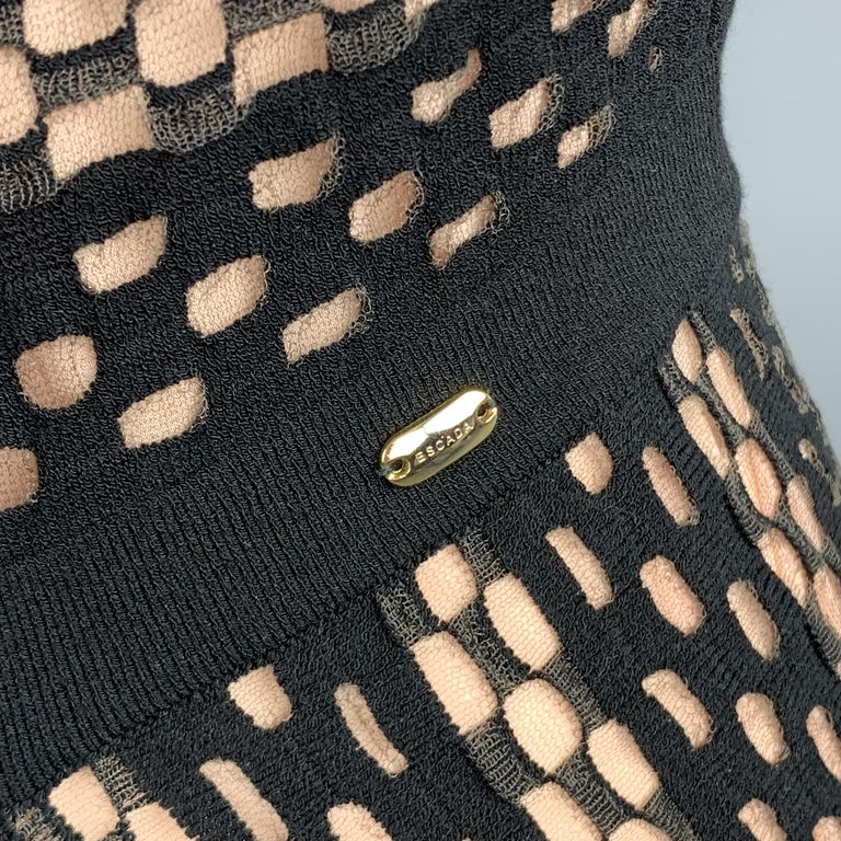 ESCADA Size S Black Striped Mesh Sleeveless Fit Flair Dress In Excellent Condition For Sale In San Francisco, CA