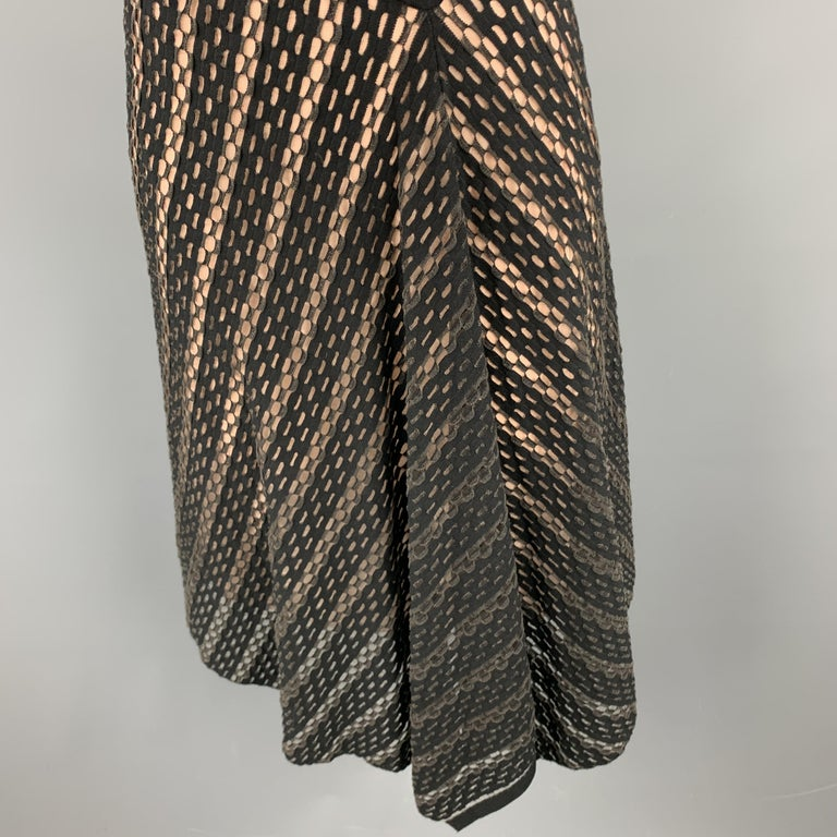 Women's ESCADA Size S Black Striped Mesh Sleeveless Fit Flair Dress For Sale