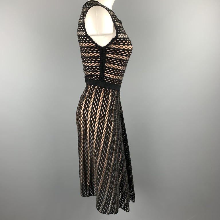ESCADA Size S Black Striped Mesh Sleeveless Fit Flair Dress For Sale 1