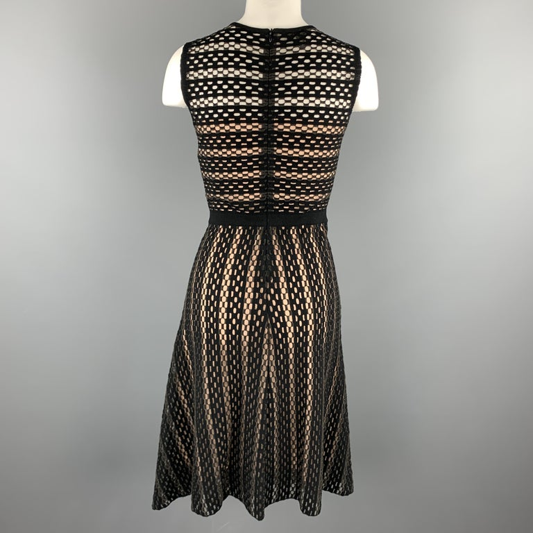 ESCADA Size S Black Striped Mesh Sleeveless Fit Flair Dress For Sale 2