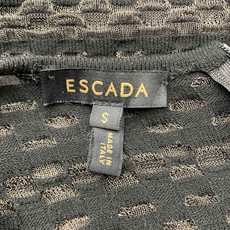 ESCADA Size S Black Striped Mesh Sleeveless Fit Flair Dress For Sale 3