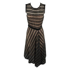 ESCADA Size S Black Striped Mesh Sleeveless Fit Flair Dress