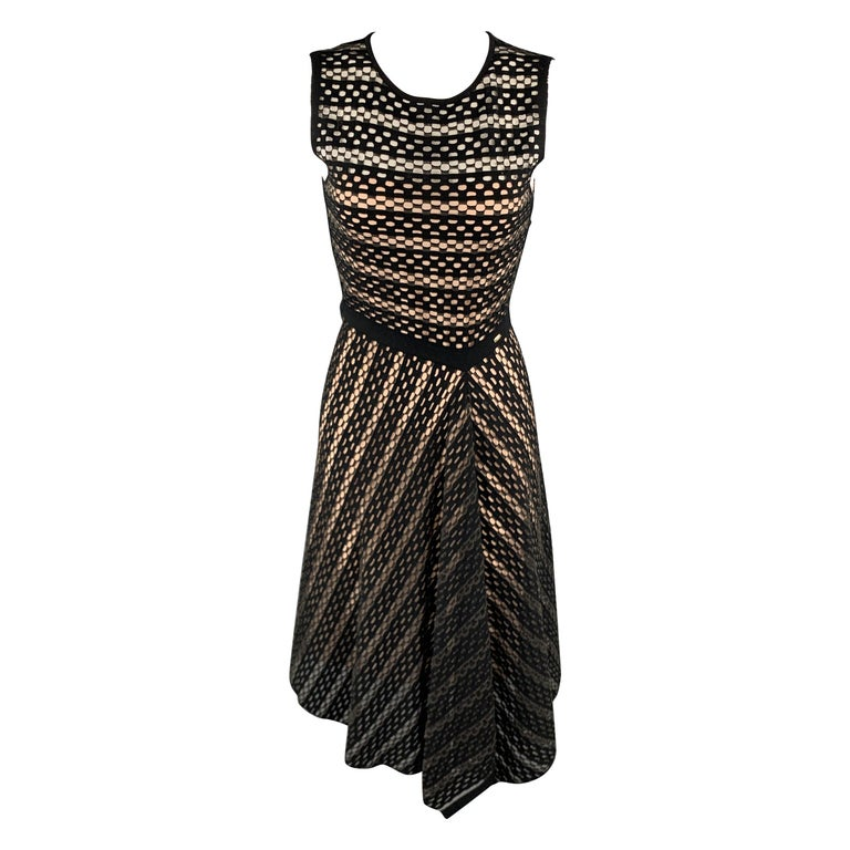 ESCADA Size S Black Striped Mesh Sleeveless Fit Flair Dress For Sale