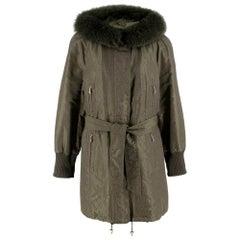 Escada Sport Khaki Coat With Fox Fur Hood 40