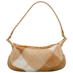 Escada Tan and White Calf Hair Argyle Shoulder Bag